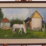 Pictura în ulei de A. Ioniță - Cal alb pe pajiște în fața șurei - Pictor roman, Peisaje, Realism