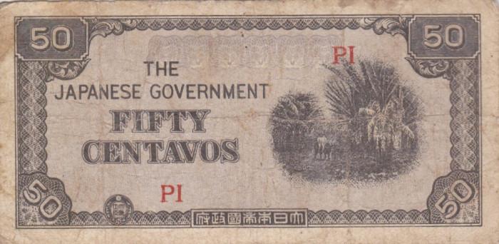 OCUPATIA JAPONEZA IN FILIPINE 50 centavos 1942 F!!! foto mare