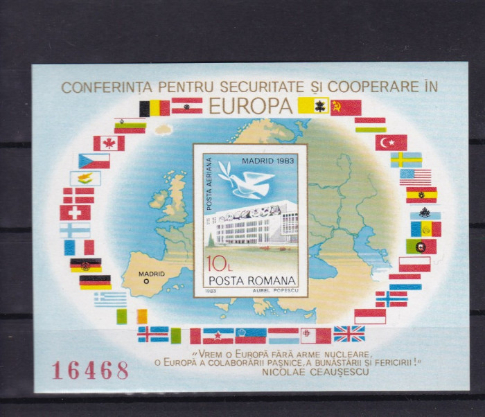 ROMANIA 1983 LP 1086 CSCE MADRID COLITA NEDANTELATA MNH foto mare