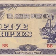 OCUPATIA JAPONEZA IN BURMA 5 rupees 1942 VF+++!!! - bancnota asia