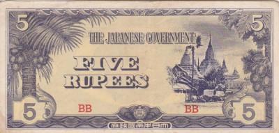 OCUPATIA JAPONEZA IN BURMA 5 rupees 1942 VF+++!!! foto