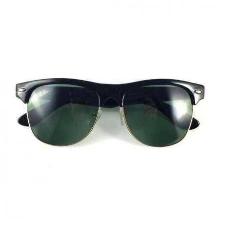 Ray Ban Club Master Rama neagra lentila verde sticla foto mare