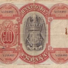 BANCNOTA de colectie SPANIA 500 Pesetas 1927, Europa