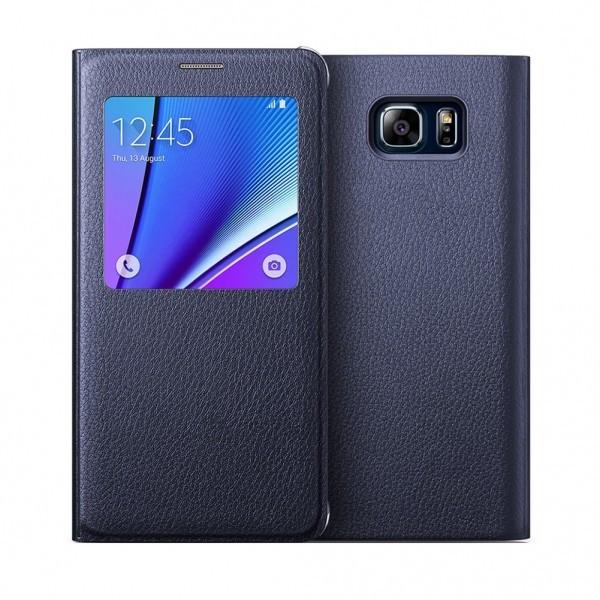 Husa flip s-view Samsung Galaxy Note 5, negru foto mare
