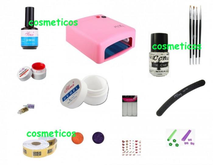 Kit trusa unghii false : set lampa uv  geluri constructie colorate tipsuri NO1