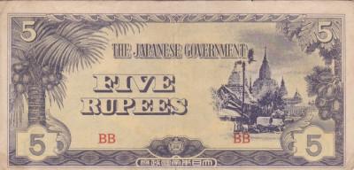 OCUPATIA JAPONEZA IN BURMA 5 rupees 1942 VF!!! foto