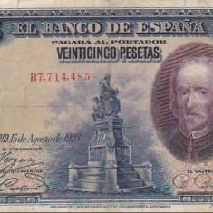 BANCNOTA de colectie SPANIA 25 Pesetas 1928, Europa