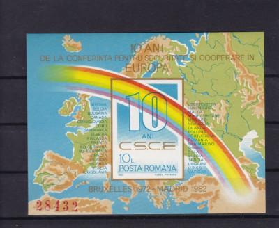 ROMANIA 1982  LP 1060 , 10 ANI  CSCE  IN EUROPA  COLITA NEDANTELATA MNH foto