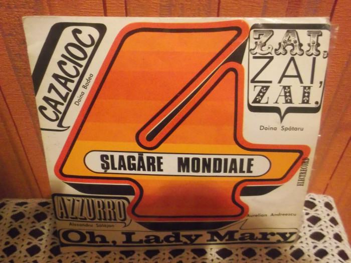 """-Y-   PATRU SLAGARE MONDIALE  DISC VINIL 7 """""""