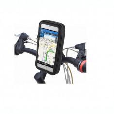Suport de telefon pentru bicicleta cu husa rezistenta la intemperii, negru - Suport telefon bicicleta
