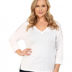 Michael Kors Plus Size Studded Shoulder 3/4 Sleeve V-Neck White / Gold