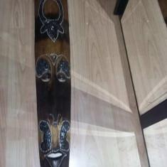 Masca lemn vintage cu intarsii,masca mare 1 metru,Masca decor sculptata,deosebit
