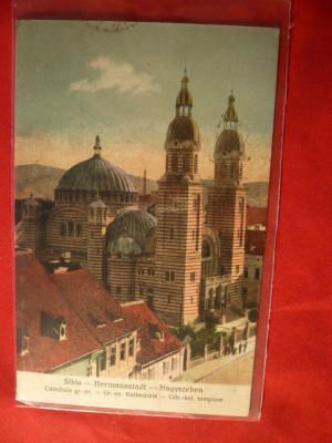 Ilustrata Sibiu -Catedrala Greco-Ortodoxa ,circulat 1932 ,cu Goarna 16 foto