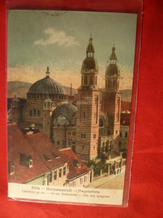 Ilustrata Sibiu -Catedrala Greco-Ortodoxa ,circulat 1932 ,cu Goarna 16