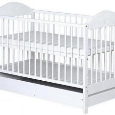 Patut din lemn cu sertar pentru copii Klups Ewelina II PKE-1A, Alb - Patut lemn pentru bebelusi