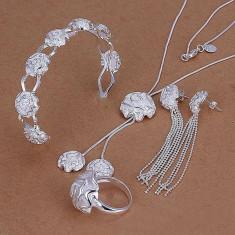 Set bijuterii placat argint 925  colier ,bratara, inel si cercei poze reale