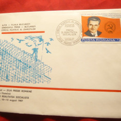Plic FDC -N.Ceausescu - Ziua Presei Romane 1987