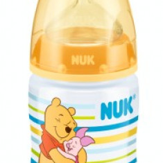 Biberon din polipropilena cu tetina din silicon Nuk First Choice Disney Winnie th Pooh 150ml 0-6 luni 743374