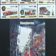 CUBA -  MASINI DE POMPIERI, 2006, 6 V + 1 S/S, NEOB . - CU 04