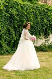 Rochie mireasa Natalia Vasiliev dantela si triplu voal, Rochii de mireasa A-line