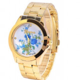 NOU Ceas dama auriu alb bleu fashion imprimeu floral bratara metalica GENEVA