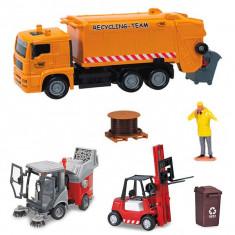 Set masini gunoier ,masina de spalat drumuri cu perie , stivuitor City service team 3827004 Dickie