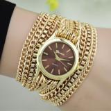 Cumpara ieftin NOU Ceas de dama elegant fashion auriu maro cu curea metalica tip lant GENEVA