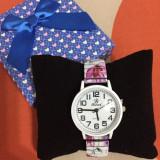 NOU Ceas de dama multicolor elegant bratara metalica imprimeu floral roz GENEVA
