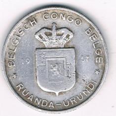 Moneda 1 franc 1957 - Congo Belgian, Africa