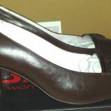 Pantofi noi piele naturala, 40, Maro, Cu toc