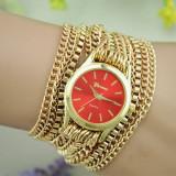 Cumpara ieftin NOU Ceas de dama elegant fashion auriu rosu cu curea metalica tip lant GENEVA, Quartz, Inox