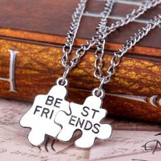 Lantisor / Colier / Pandantiv - Argintiu - Puzzle - Best Friends - Pandantiv fashion