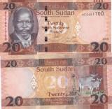 Sudanul De Sud 20 Pounds 2015 UNC