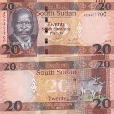 Sudanul De Sud 20 Pounds 2015 UNC - bancnota africa