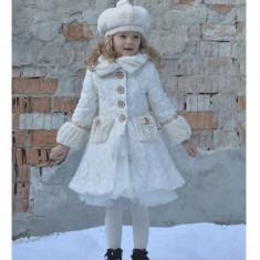 Palton elegant fetita, Marime: Masura unica, Culoare: Ivoire