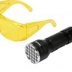 Kit lanterna led UV si ochelari de protectie VOREL