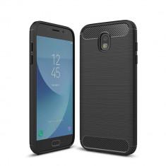 Husa Tpu Carbon Fibre Brushed Samsung Galaxy J5 2017 - Bonus Folie Ecran - Husa Telefon Samsung, Negru, Gel TPU