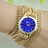 NOU Ceas de dama elegant fashion auriu albastru curea metalica tip lant GENEVA, Quartz, Inox