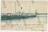 459 - TULCEA, Dobrogea, ship Carol I, Litho, - old postcard - used - 1899, Circulata, Printata
