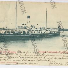 459 - Litho, Dobrogea, TULCEA, ship Carol I - old postcard - used - 1899 - Carte Postala Dobrogea pana la 1904, Circulata, Printata