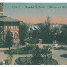 694 - CRAIOVA, Church and Monument Stirbei - old postcard - unused - Carte Postala Oltenia 1904-1918, Necirculata, Printata