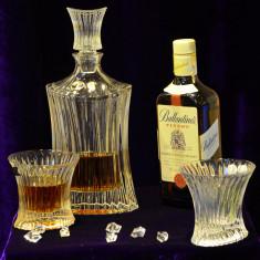 Set de 7 piese: 6 pahare si sticla pentru whisky OrkanCristal Bohemia