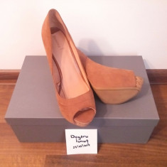 Pantofi Bershka pentru Femei - Maro, Marimea 39 - Pantof dama, Cu toc
