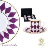 Set cafea 6 cesti cu farfurii in cutie cadou Jester Purple - Ceasca