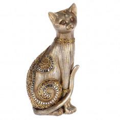 Statueta pisica argintiu-auriu 11x8x24,Cod Produs:1869