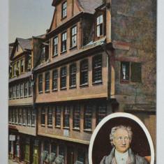 Carte postala veche Franta - Postkarte - Frankfurt, M. Casa Goethe, Germania, Circulata, Fotografie