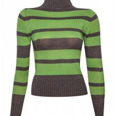 Pulover dama cu dungi Philip Russel, Verde/Gri, Helanca pe gat, Acril