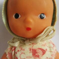 Papusa, papusica veche, vintage, bebelus, bebe, cauciuc, 18 cm