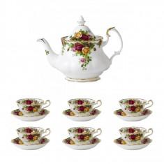 Set 6 cesti cu farfurii ceai + Ceainic AVON Old Country Roses - Ceasca