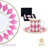 Set cafea 6 cesti cu farfurii in cutie cadou Jester Pink - Ceasca
